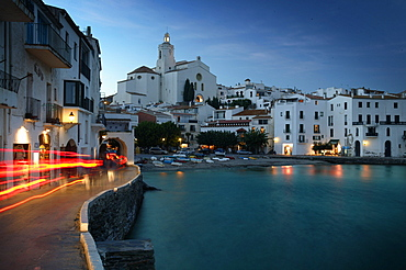 Costa Brava,Cadaques Bay with the Parish Church Santa Maria, Cadaques, Costa Brava, Catalonia Spain