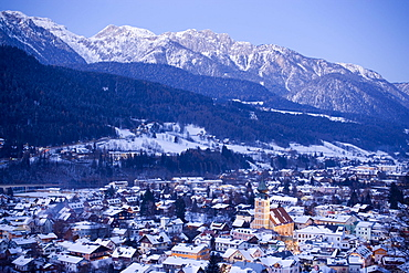 View over Schladming,Dachstein Mountains in backgroung, Ski Amade, Styria, Austria