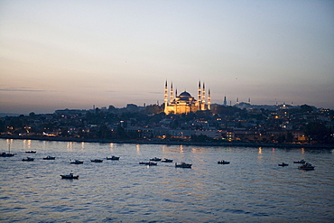 Sultan Ahmet Cami Blue Mosque at Dusk,View from MS Europa, Istanbul, Turkey