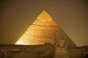 Sound & Light Show at Pyramids of Giza,Sphinx & Chephren Pyramid, Cairo, Eqypt
