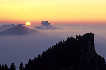 Sunset with Kampenwand and Hochlerch, Chiemgau, Bavarian Alps, Upper Bavaria, Bavaria, Germany