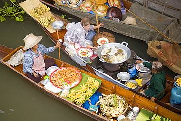 Top view of two boats at the Floating Market, Damnoen Saduak, near Bangkok, Ratchaburi, Thailand