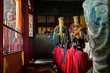 Taoist monks in Zhongyue temple Taoist Buddhist mountain, Song Shan, Henan province, China, Asia