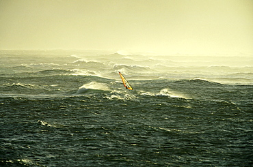 Windsurfer windsurfing in rough waves, North Sea, Sylt, Germany