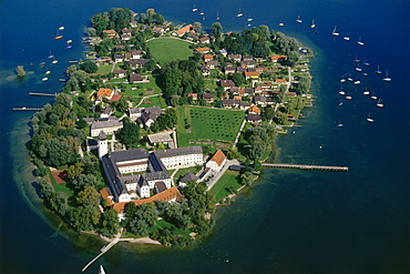Aerial shot of Fraueninsel, Lake Chiemsee, Bavaria, Germany, Europe