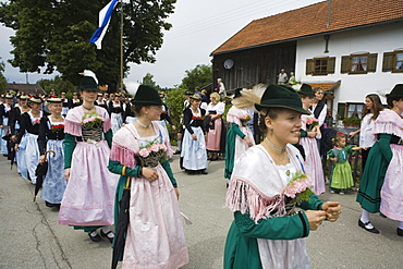 Procession in Tradional Costumes, Konigsdorf, Upper Bavaria, Germany