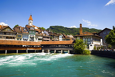 View over the river Aare and sluice to town, Thun, the largest garrison town in Switzerland, Bernese Oberland, Canton of Bern, Switzerland