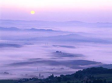 Sunrise over the Val d'Orcia, Tuscany, Italy