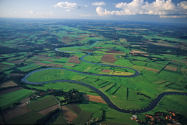 aerial photo of Weser River, meanders, clouds, panorama, Lower Saxony, northern Germany