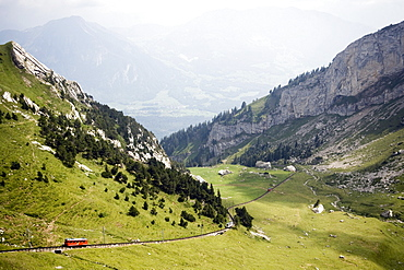 Pilatus Railway, the steepest cog railway in the world, Lake Lucerne, Pilatus (2132 m), Alpnachstad, Canton of Obwalden, Switzerland