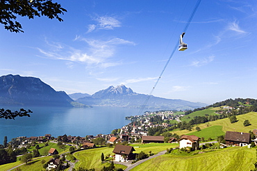 Weggis Rigi Kaltbad Aerial Cableway on Rigi (1797 m), Pilatus (2132 m) in the background, Weggis, Canton of Lucerne, Switzerland