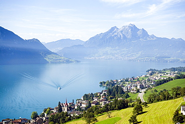 View over Weggis at Lake Lucerne to mountain Pilatus (2132 m) in the background, Weggis, Canton of Lucerne, Switzerland