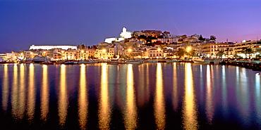 Spain, Baleares island, Ibiza, skyline, marina, twilight, panorama