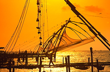 Chinese fishing nets at harbour of Kochi, Kerala, India