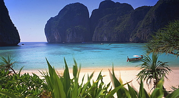 Maya Bay on the small Island of Kho Phi Phi Lee in South Thailand