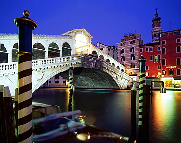 Rialto bridge at night, Canale Grande, Venice, Italy