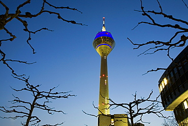 Television tower and Landtag, legislative assembly, Media Harbour, Düsseldorf, state capital of NRW, North-Rhine-Westphalia, Germany