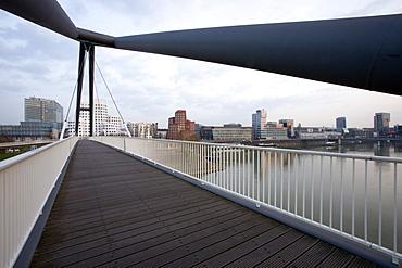 Footbridge at the Media Harbour in Düsseldorf, state capital of NRW, North-Rhine-Westphalia, Germany