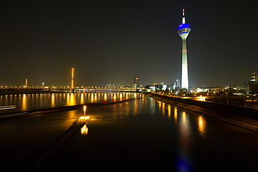 Media Harbour at night with television tower in the background, Düsseldorf, state capital of NRW, North-Rhine-Westphalia, Germany