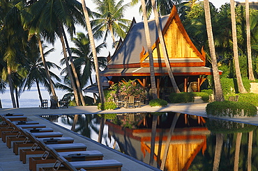Amanpuri Hotel and pool under palm trees, Phuket, Thailand, Asia