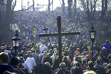 Thousands of pilgrims during, The Mystery of the passion of Christ Kalwaria Zebrzydowska, Cracow, Poland