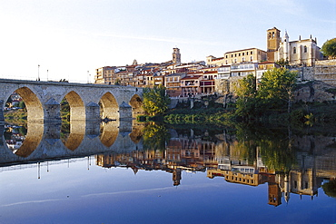 View at the town Tordesillas and the river Duero, Castilla, Spain, Europe