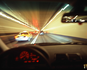 View through the windscreen of a car at a tunnel, Manhattan, New York City USA, America