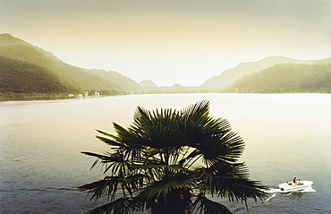 View over Lake Lugano, Morcote, Ticino, Switzerland