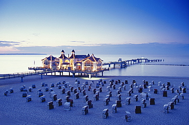 Sea Resort Sellin at dusk, Ruegen, Mecklenburg-Western Pomerania, Germany, Baltic Sea