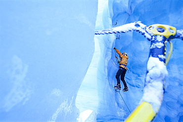 Ice climber on steep climb, Pitztaler Glacier, Austria