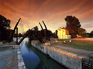 Pont Van Gogh bridge in the afterglow, Bouches-du-Rhone, Provence, France, Europe