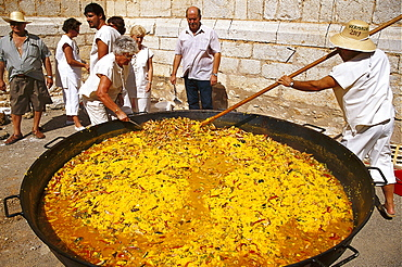 A large pan of paella at the Wine Festival, Benissalem, Majorca, Spain