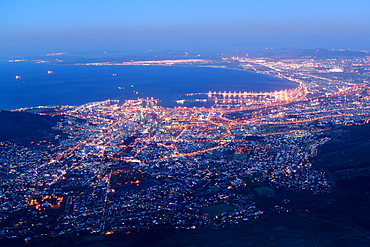 View over Cape Town in the evening, Cape Town, South Africa, Africa