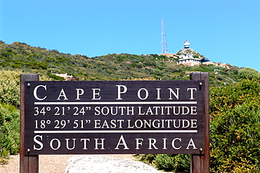 Sign and lighthouse at Cape Point in the sunlight, Cape Town, South Africa, Africa