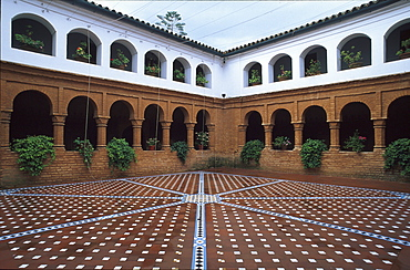 Picturesque patio Mudéjar at La Rábida monastery, Province of Huelva, Andalusia, Spain, Europe