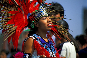 Actec dancer wearing feather decor, Mexico City, Mexico, America