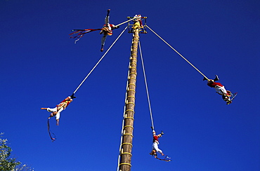 Voladores de Papantia, acrobats hanging on ropes on a fun fair, Veracruz, Mexico, America