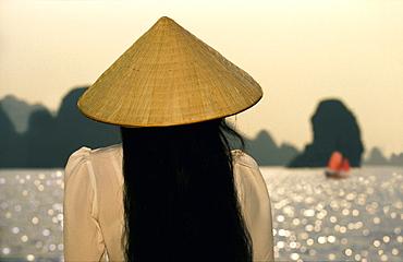 Woman in Halong Bay, Halong Bay, Vietnam, Indochina, Asia