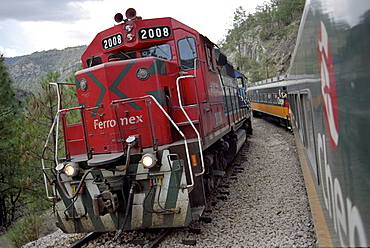 Two trains standing next to eah other, Ferrocarril Chihuahua al Pacifico, Chihuahua express, Mexico, America