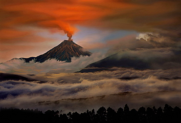 Tungurahua volcano eruption, Ecuador, South America