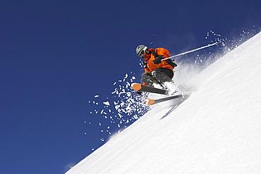 Male skier jumping, Bavaria, Germany