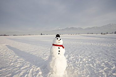 Snowman with knit hat and scarf, Bavarian Uplands