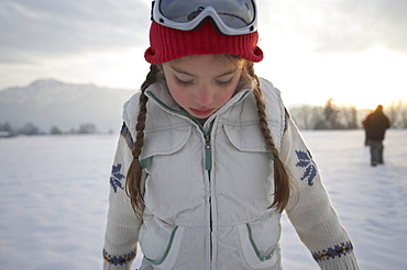 Girl 5-6 Years, standing in winter scenery