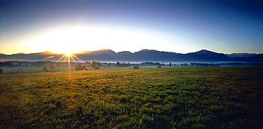 Aline Upland at sunrise, Grossweil, Upper Bavaria, Germany