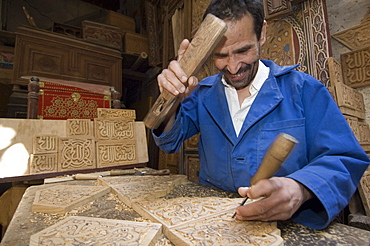 Chip-carver at work, Fes, Morocco
