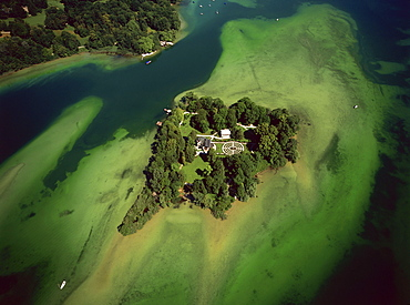 Aerial view of Roseninsel, Starnberger See, Upper Bavaria, Germany