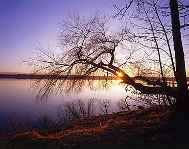 Sunset over lake, Starnberger See, Upper Bavaria, Germany