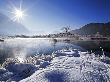Snow covered landscape, Eschenlohe, Upper Bavaria, Germany
