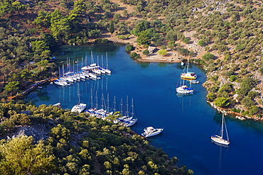 High angle view at the small bay Kapi Creek, Fethiye Bay, Turkey, Europe