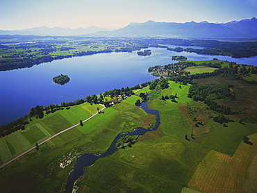 Aerial view of Staffelsee and German alps, Upper Bavaria, Germany